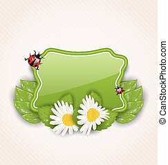 Cute spring card with flower daisies, leaves, ladybugs -...