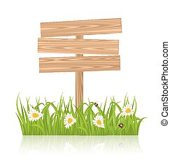 Wooden signboard for guidepost with field green grass and...