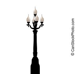 Vintage forged lamppost isolated on white background