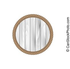 Round wooden frame with rope isolated on white background