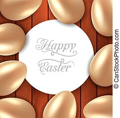 Congratulation card with Easter golden glossy eggs on wooden...