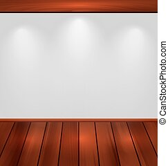 Empty wall with light and wooden floor