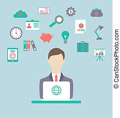 Designer, work place, work elements, flat style design