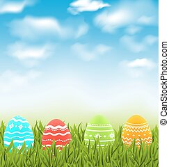 Easter natural landscape with traditional colorful eggs in...