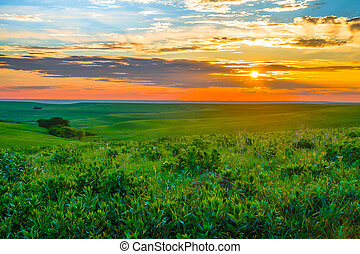 Kansas Sunset in the Flint Hills - Sunset in the Flint Hills...