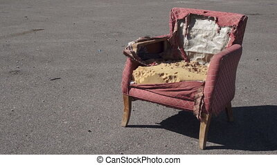 Retro Ragged Armchair Outside - Old and destroyed armchair...