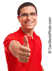 Happy Young men Showing Thumb\'S Up