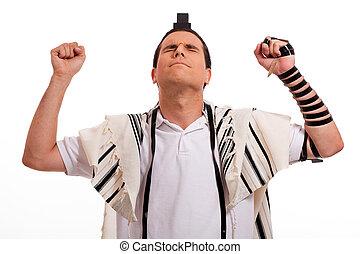 men praying - jewish men praying on isolated background
