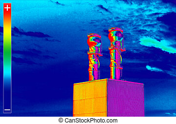 Thermovision image heating plant chimney - Infrared...