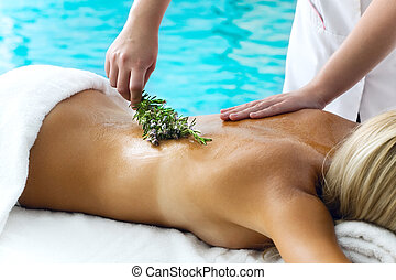 Beautiful young woman getting a spa treatment - Close-up of...
