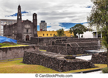 Plaza of Three Cultures Aztec Archaelogical Site Mexico City...