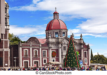 Old Basilica Shrine of Guadalupe Christmas Day Tree Mexico...
