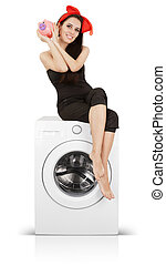 Girl With Piggy Bank on a Washer