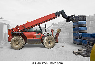 Industrial Machine Lifting - isolated - Red industrial...