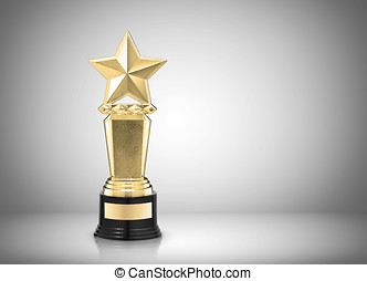 star award - Golden star award on gray background