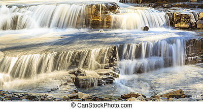 Waterfalls at Waterton Park - The cascading stream of water...