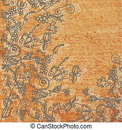 Abstract floral background with the wood texture illustration