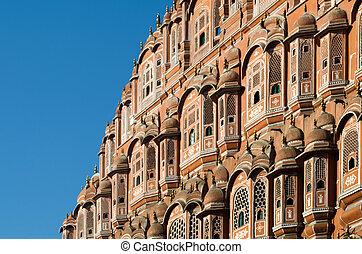 Detail of Hawa Mahal palace in Jaipur