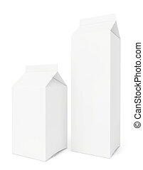 blank milk packs isolated on white background.