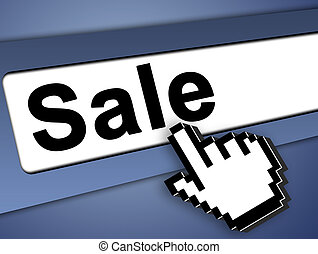 sale icon - Sale Graphic bar with mouse pointer , on blue...