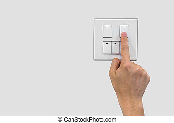 save energy - a finger is turning off the switch