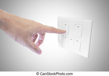 turn off - a hand is turning off the switch