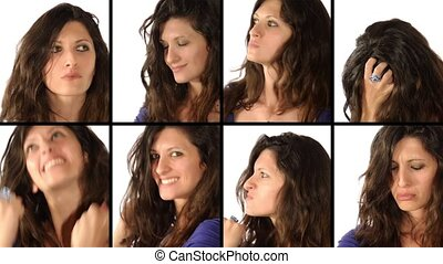 Young woman portraits - Woman: facial expressions collage