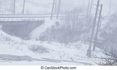 Railway bridge - Snowing on and form twist on railway bridge