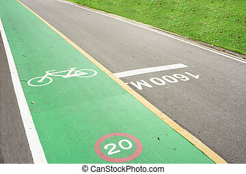 bicycle lane - green bicycle land with bicycle symbol and...
