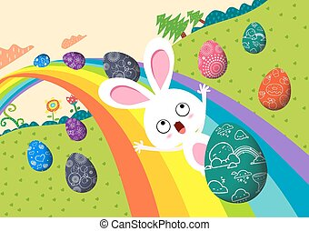 happy easter eggs with rainbow