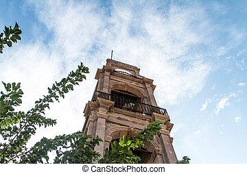 Clock Tower - Clock tower in Bozcaada Tenedos on blue sky