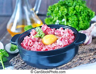 minced meat and raw egg in bowl and on a table