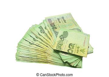 Thai money 20 baht isolated on white , thai bank note