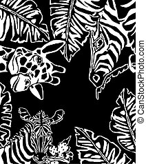 Zebras with leaves and plants on the black background