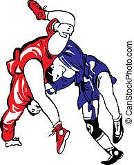 wrestling - Two men fighting