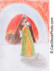queen on background of red mountains - child's drawing - the...