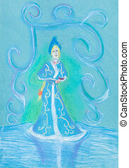 snow maiden on blue ice - child's drawing - snow maiden on...
