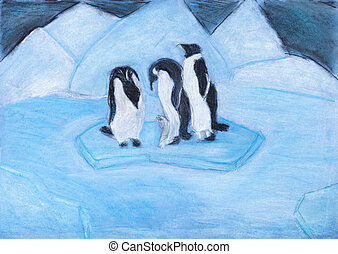 penguins on ice floe in cold blue night - childs drawing -...