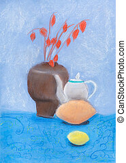 still life with vase, kettle, lemon - childs drawing - still...