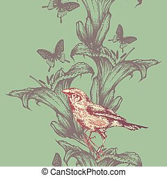 Seamless wallpaper with lilies and birds, hand-drawing. Vector i