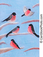 bullfinches on tree branches in winter - childs drawing -...