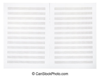blank double pages of music book - background from blank...