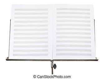 blank double pages of music book on stand close up - blank...