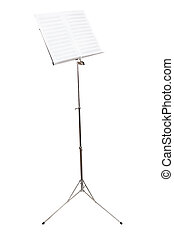 music stand with blank book isolated on white - music stand...