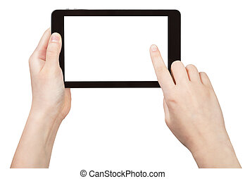 finger touching tablet pc with cut out screen isolated on...