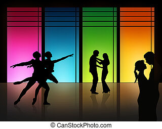 love dance - couple is dancing in front of a high window