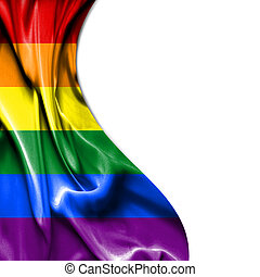 Pride waving satin flag isolated on white background - Pride...