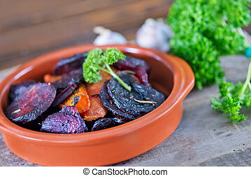 vegetables - baked beet and carrot in the bowl