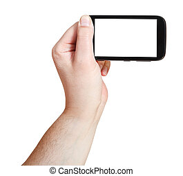 male hand holding smartphone with cut out screen
