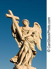 Angel statue at Sant\'Angello bridge, in Rome